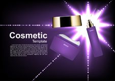 Cosmetic ads template, moisturizer and serum with shining lights. On dark background Royalty Free Stock Images