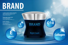 Cosmetic ads template, night aqua intensive repair cream. Night aqua intensive repair cream contained on blue water background, 3d realistic cosmetic contained Royalty Free Stock Image