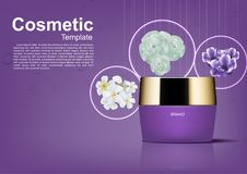 Cosmetic ads template, Night cream with three flowers on purple. Background Stock Images