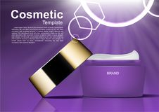 Cosmetic ads template, opened cosmetic cream moisturizer and shi. Ning light Royalty Free Stock Images