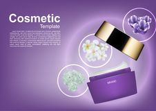 Cosmetic ads template, opened night cream with three flowers.  Stock Photography