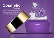 Cosmetic ads template, opened night cream with three flowers vec. Tor illustration Royalty Free Stock Photography