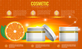 Cosmetic ads template with orange and sparkling effect. Stock Image