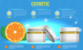 Cosmetic ads template with orange and sparkling effect. Cosmetic ads template, blank cosmetic mockup with sparkling effect. Orange with leaf. Product vector illustration