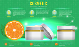 Cosmetic ads template with orange and sparkling effect. Cosmetic ads template, blank cosmetic mockup with sparkling effect. Orange with leaf. Product royalty free illustration