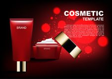 Cosmetic ads template, red cosmetic cream with red background an. D red bubble lights Royalty Free Stock Image