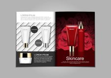 Cosmetic ads template, Skincare brochure design with black and w royalty free illustration