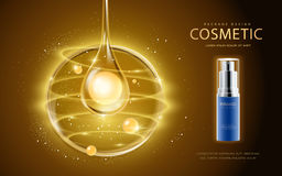 Cosmetic ads template. Cosmetic spray bottle with pearl in the essence oil drop. 3D illustration for fashion magazine or ads Stock Image