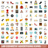 100 cosmetic advertising icons set, flat style. 100 cosmetic advertising icons set in flat style for any design vector illustration Stock Photography