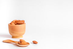 Cosmetic almond oil in glass bottle on white background Stock Photo