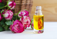 Cosmetic aroma oil with rose essence Stock Images