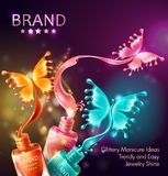 Cosmetic background with butterflies from nail polish. Vector realistic 3d cosmetic background, open bottles with nail polish with splashes in form of neon Stock Images