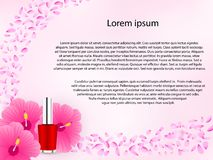 Cosmetic floral background in pink color. vector illustration