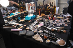 Cosmetic backstage at the Beach Bunny Swimwear fashion presentation Stock Photography