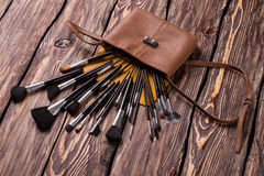 Cosmetic bag with brushes. Stock Image