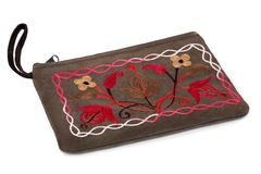 The cosmetic bag with hand-made embroidery Royalty Free Stock Image