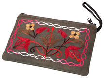 Cosmetic bag with hand-made embroidery Stock Photo