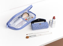 Cosmetic bag and lipstick case Stock Image