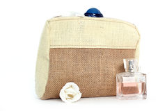 Cosmetic bag from natural jute Stock Images