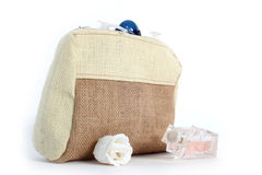 cosmetic bag from natural jute Royalty Free Stock Images