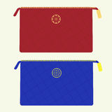 Cosmetic bag in red and blue colors Royalty Free Stock Photos