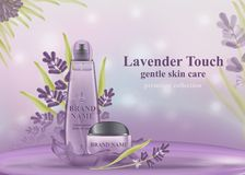 Cosmetic banner with 3d realistic bottles. mockup for promoting your brand. royalty free illustration