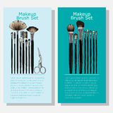 Cosmetic banners with makeup brush set Royalty Free Stock Images