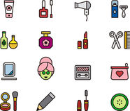 Cosmetic and beauty icons. Set of colorful icons relating to cosmetics and beauty on white background Royalty Free Stock Images