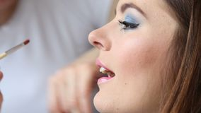 Makeup artist applying lip gloss to model lips, full HD. Cosmetic beauty procedures and makeover concept. Closeup woman face pink lips. Makeup artist applying stock video footage