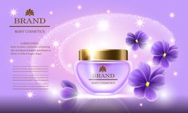 Cosmetic beauty set of body cream for skin care with violets  Stock Photo