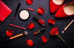 Cosmetic black backgroud Royalty Free Stock Photography
