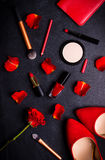 Cosmetic black background Stock Photos