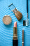 Cosmetic on blue background stock photo