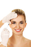 Cosmetic botox facial injection Stock Photo