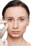 Cosmetic botox injection in the beauty face Royalty Free Stock Photos