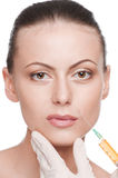 Cosmetic botox injection in the beauty face Stock Image