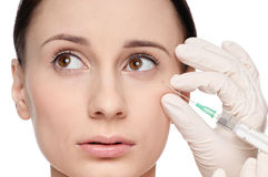 Cosmetic botox injection in the beauty face Stock Photo