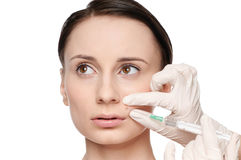 Cosmetic botox injection in the beauty face Royalty Free Stock Photography