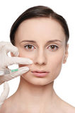 Cosmetic botox injection in the beauty face Stock Photos