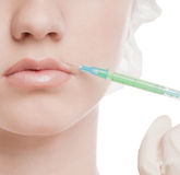 Cosmetic botox injection in face Stock Images
