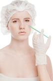 Cosmetic botox injection in face Royalty Free Stock Image
