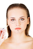 Cosmetic botox injection in the female face Royalty Free Stock Photos