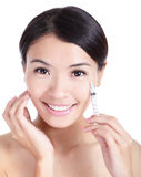 Cosmetic botox injection in woman face Stock Photography