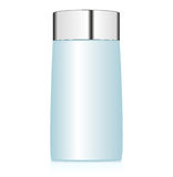 Cosmetic bottle. Blue bottle on white background. Vector illustration Royalty Free Stock Photography