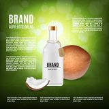 Cosmetic bottle with coconut oil Royalty Free Stock Photo