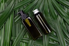 Cosmetic bottle containers on green herbal leaves background, Blank label for branding mock-up. Cosmetic bottle containers on green herbal leaves background stock images