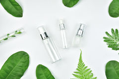 Cosmetic bottle containers with green herbal leaves, Blank label package for branding mock-up. Cosmetic bottle containers with green herbal leaves, Blank label royalty free stock photos