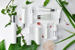 Cosmetic bottle containers with green herbal leaves, Blank label package for branding mock-up. Natural organic beauty product concept stock photography