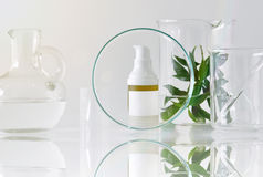 Cosmetic bottle containers with green herbal leaves and scientific glassware, Focus on blank label package for branding mock-up Stock Images
