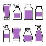 Cosmetic bottle icons. Vector illustration royalty free illustration